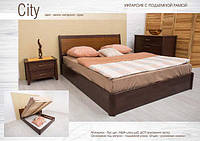 """Кровать деревянная с подъемным механизмом """"Сити""""(филенка)"""