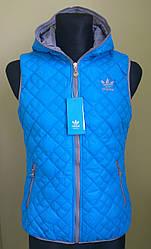 Жилетка женская двухсторонняя в стиле Adidas серо-голубая
