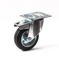 Колесо поворотное с тормозом 100 мм для тележек (Китай)