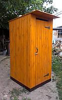 Туалет деревянный из имитации бруса (обшивка вертикально)