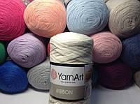 Трикотажная пряжа ribbon YarnArt для вязания ковриков, сумок, корзинок.