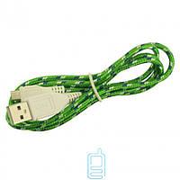 USB - Micro USB шнур тканевый зеленый