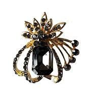 Брошь (брошка) Цветок Золотая с серыми стеклянными стразами камнями 4.5x4 см 1 шт