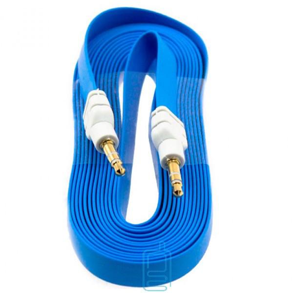 AUX кабель 3.5 плоский 3 метра голубой