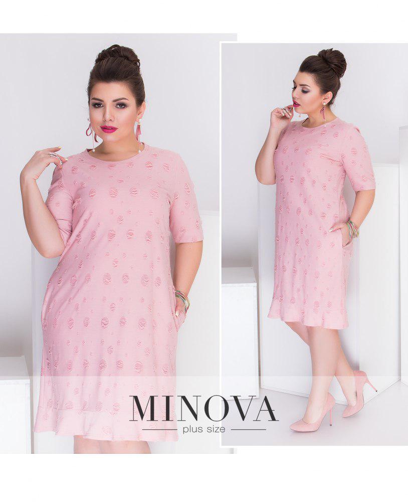 Летнее двухслойное платье прямого кроя с карманами большого размера ТМ Minova р.52, 54