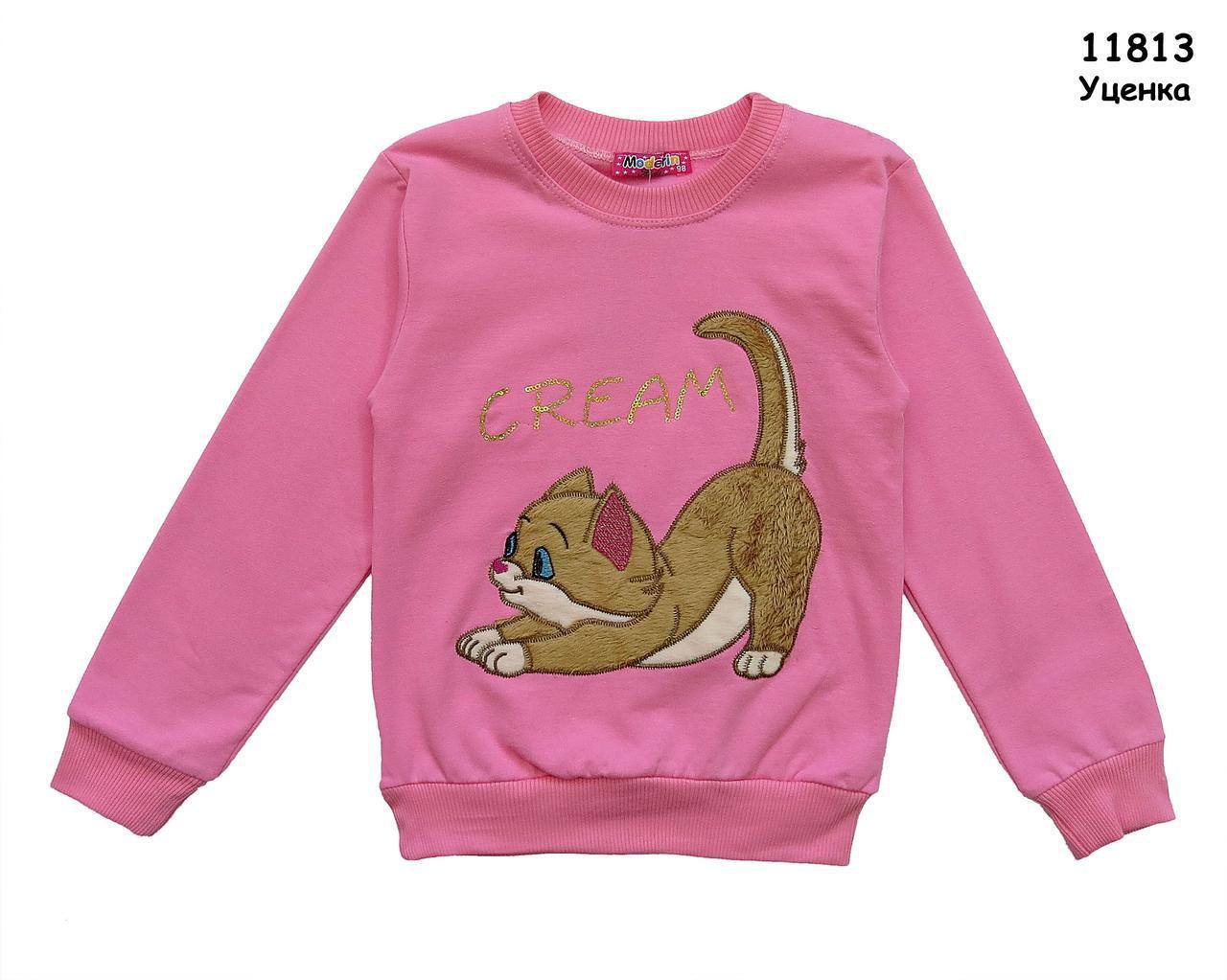 """Теплая кофта """"Котик"""" для девочки. 116 см"""