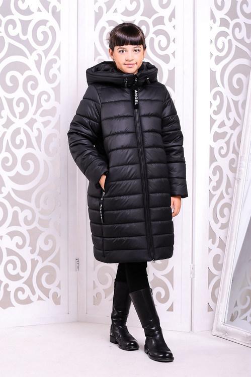 """Детское зимнее пальто для девочки """"Ангел"""" чёрное, 122-134р."""