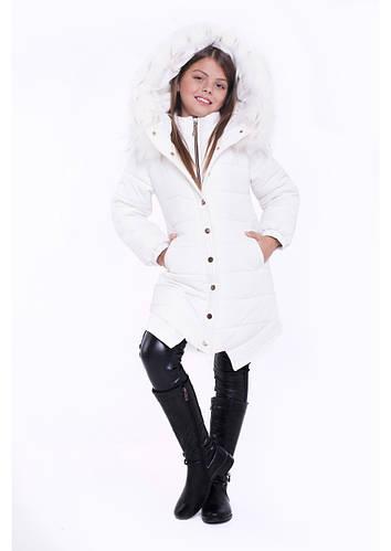 """Детская зимняя куртка для девочки """"Прага"""" белый, 116 -140"""