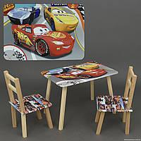 """Столик и два стульчика деревянные """"Тачки"""" С 104 ***"""