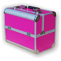 Чемодан визажиста металлический раздвижной розовый 740С Yre