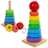 Деревянная игрушка Пирамидка MD 1167, кольца 7шт