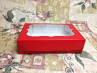 Коробка Красная для эклеров, зефира 250*170*60 (с окошком)