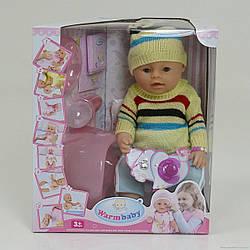 Пупс функціональний 8006Т з аксесуарами (якісна копія Baby Born) розмір упакування :33 см ×19 см ×38 см