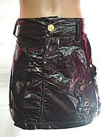 Модная детская юбка для девочки черная кожа