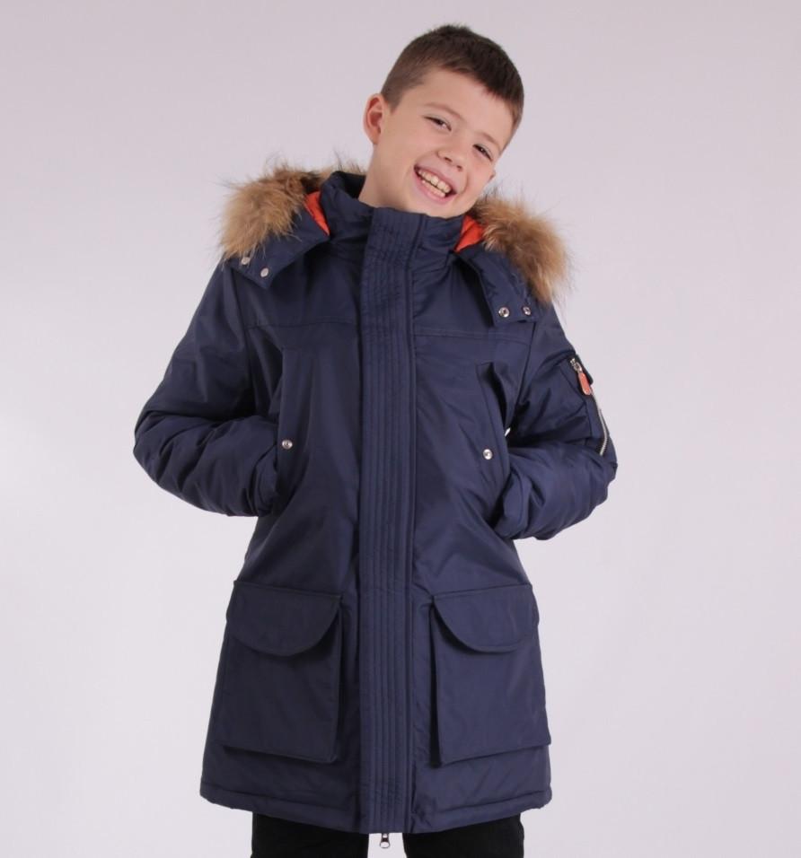 Детская зимняя куртка-парка для мальчика от ANERNUO 1789 с натуральным мехом от 130 по 170