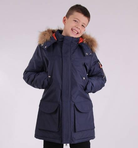 Детская зимняя куртка-парка для мальчика от ANERNUO 1789 с натуральным мехом от 130 по 170, фото 2