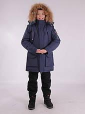 Детская зимняя куртка-парка для мальчика от ANERNUO 1789 с натуральным мехом от 130 по 170, фото 3