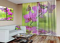 """ФотоТюль """"Бабочки на малиновой орхидеи"""""""