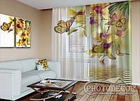 """ФотоТюль """"Желтые орхидеи и бабочки"""" (2,5м*2,0м, на длину карниза 1,5м)"""