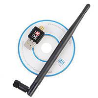 USB мини WiFi адаптер 150мб роутер, 5dBi антенна, чип 7601