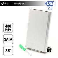 """Внешний карман ProLogix SATA HDD 2.5"""", USB 2.0, Silver (BS-U25F)"""
