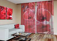"""ФотоТюль """"Красные орхидеи"""" (2,5м*3,75м, на длину карниза 2,5м)"""