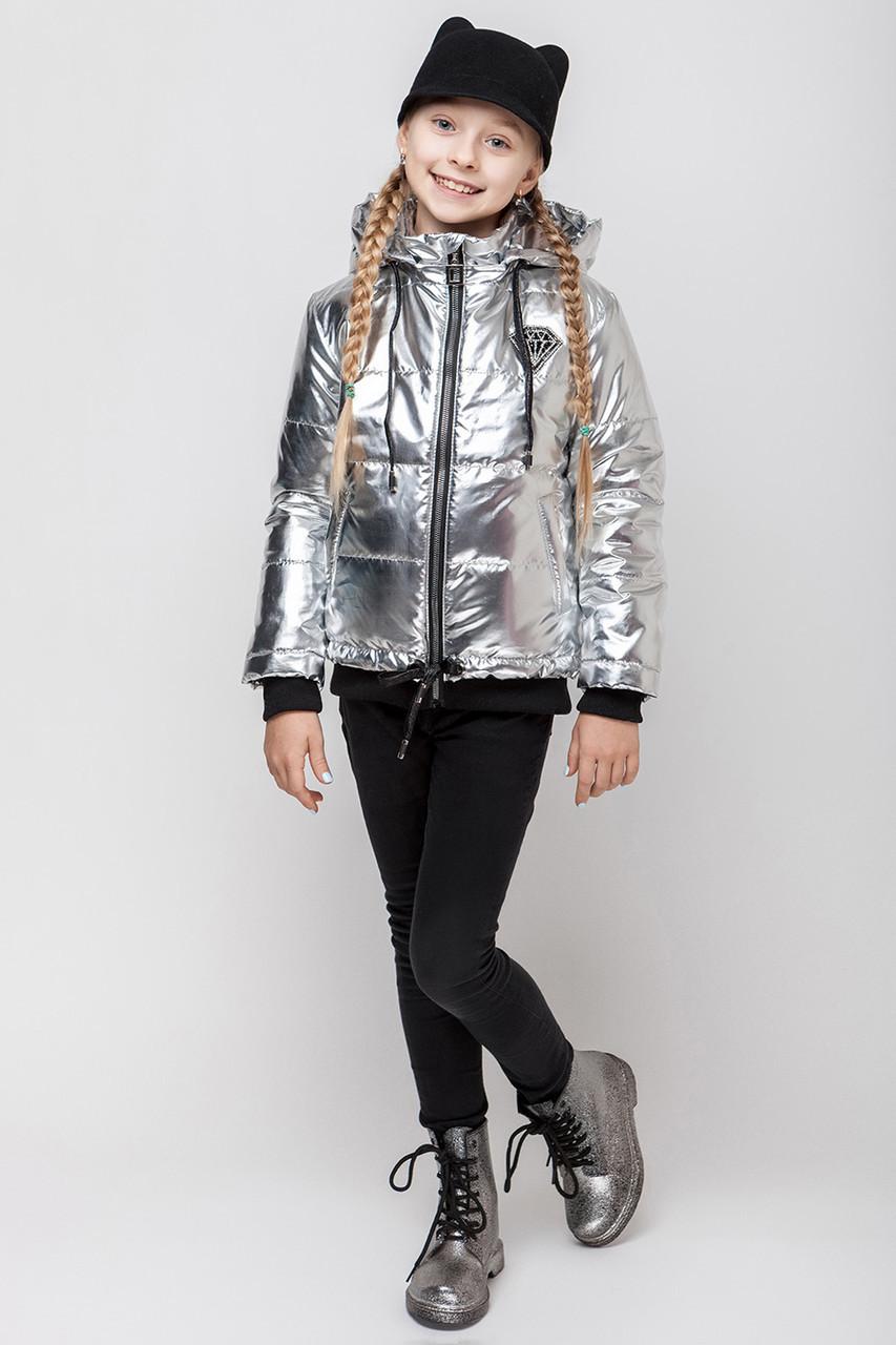 Детская демисезонная куртка для девочки серебро VKD-8, 122-152