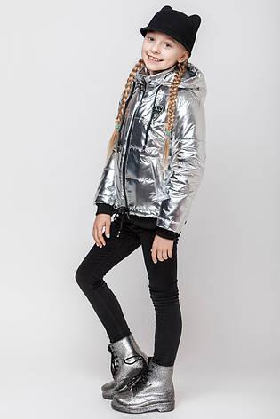 Детская демисезонная куртка для девочки серебро VKD-8, 122-152, фото 2
