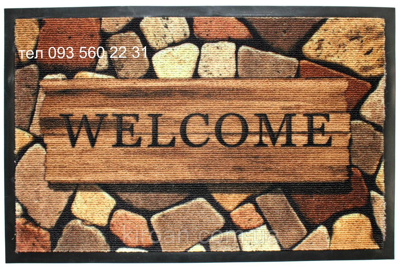 """Придверный коврик на резиновой основе 59х39 см """"Welcome"""""""