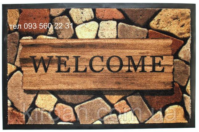 """Придверный коврик на резиновой основе 59х39 см """"Welcome"""", фото 2"""