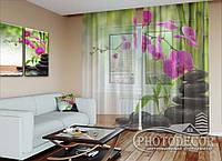 """ФотоТюль """"Малиновые орхидеи и камни"""" (2,5м*1,50м, на длину карниза 1м)"""