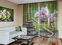"""ФотоТюль """"Орхидеи и бамбук на камнях"""" (2,5м*1,50м, на длину карниза 1м)"""