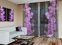 """ФотоТюль """"Орхидея на черном"""" (2,5м*3,0м, на длину карниза 2,0м)"""