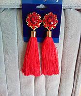 Серьги кисточки, удлиненные шелковые кисти, красные ,  высота 9 см. , фото 1