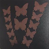 3D бабочки наклейки 12 шт коричневые 50-120 мм (товар при заказе от 200 грн)