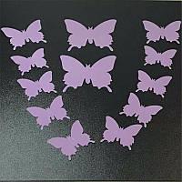 3D бабочки наклейки 12 шт сиреневые 50-120 мм (товар при заказе от 200 грн)