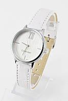 Женские кварцевые наручные часы (серебристый циферблат, белый ремешок)