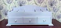Органайзер для косметики, белый, деревянный.