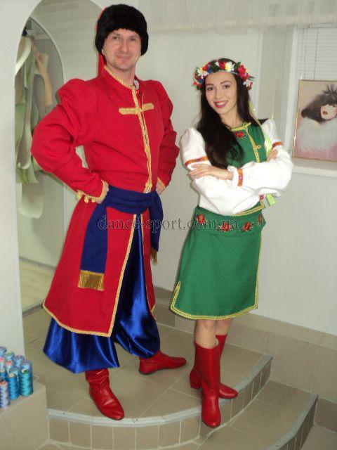 01e744a3cdf524 Українські костюми жіночий зелений і чоловічий червоний.: продажа ...