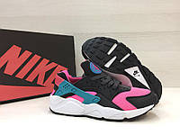 Женские кроссовки Nike Air Huarache - Black\Pink\Blue, материал - кожа+сетка, подошва-пена (легкая и удобная)