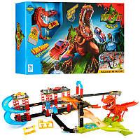 Трек с динозавром 8899-92, машинки 2шт, динозавр-звук(англ), на бат-ке(табл)