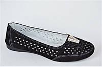 Мокасины туфли летние женские замша черные . Топ