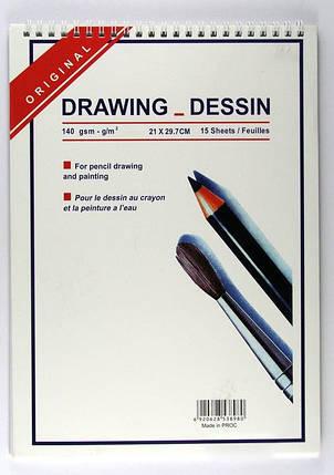 """Альбом для эскизов A4 на спирали """"Drawing dessin"""" 15 листов/140 гр., фото 2"""