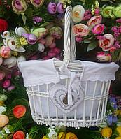 Маленькая детская корзина пасхальная плетеная белая с тканевым мешочком