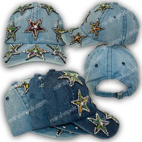 Джинсовая кепка со стразами звездами, р. 54