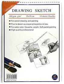 """Альбом для эскизов B4 на спирали """"Drawing sketch"""" 15 листов/180 гр."""