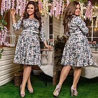 9d7d37bf4b3 Яркое платье больших размеров 48+ с расклешенной юбкой