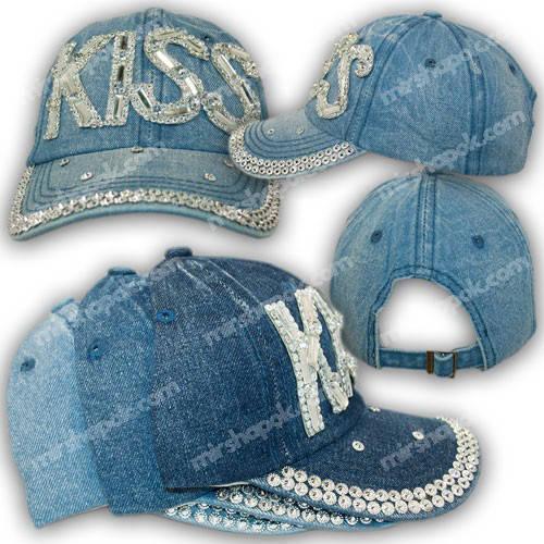 Джинсовая кепка со стразами и названием Kiss, р. 54