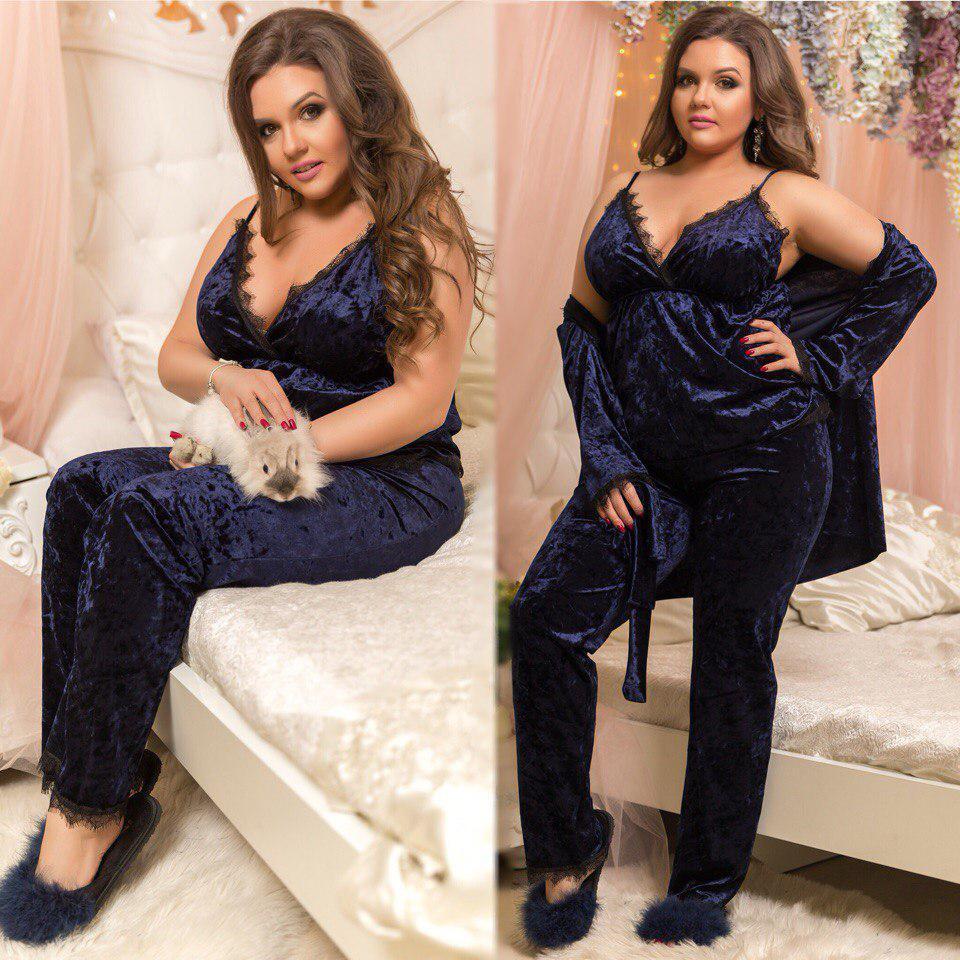 819371549a82 Пижамный комплект тройка больших размеров 48+ украшен кружевом / 4 цвета  арт 4449-557