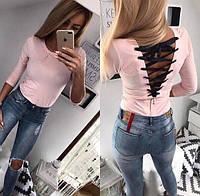 Женская облегающая кофта со шнуровкой на спине, фото 1